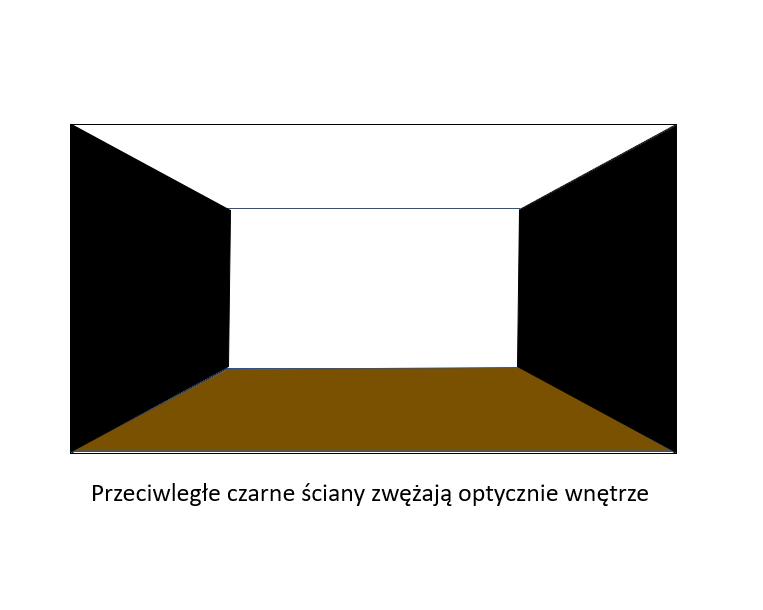 przeciwległe czarne ściany zwężają optycznie wnętrze